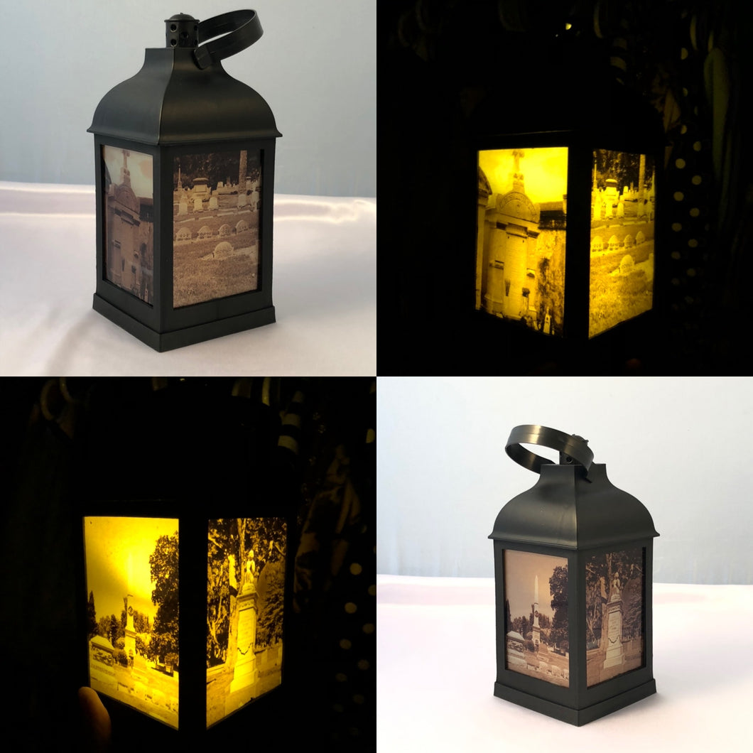 "10"" Cemetery Gothic Lantern - LED candle included"
