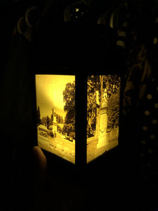 "10"" Cemetery Lantern - LED candle included - Pillbox Designs"