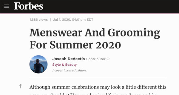 We're on Forbes Menswear Summer 2020!
