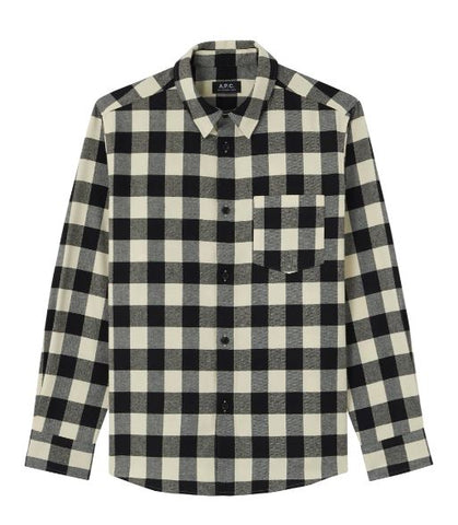 APC flannel shirt in black and white checkers