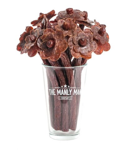Beef Jerky Bouquet in glass