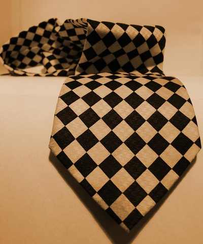 white and black checkered tie