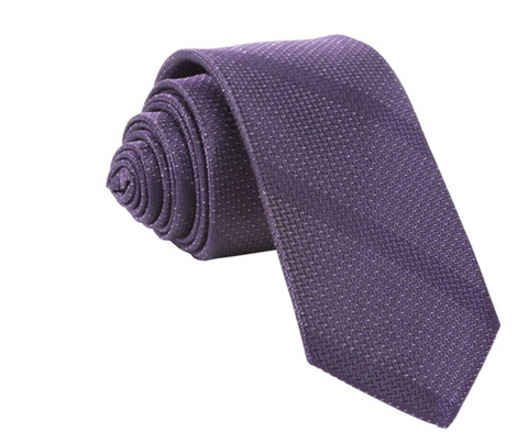 eggplant color tie with gray diagonal stripes rolled up