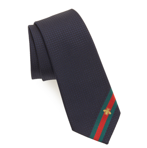 Gucci Dark Gray Tie with blue and red stripes at end
