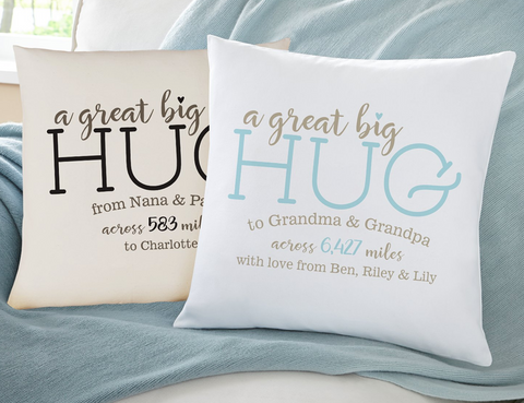 Hugs From Far Away Throw Pillow variety of colors