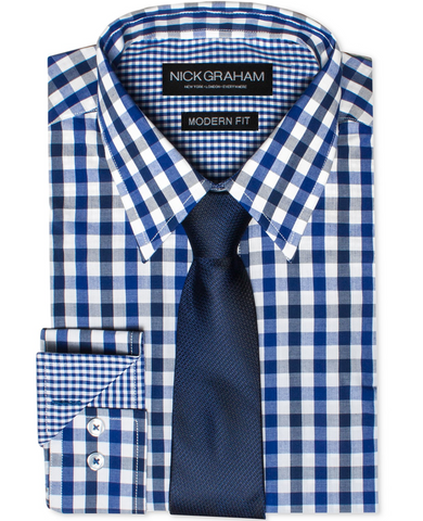 Nick Graham Athletic with Dark Blue Solid Tie and White Background