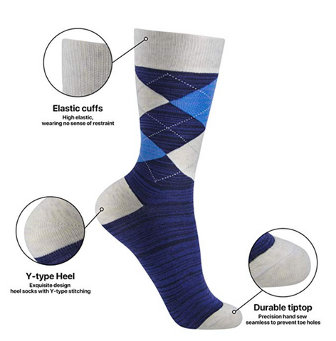 Okiss Cotton Patterned Dress Sock With Features Highlighted