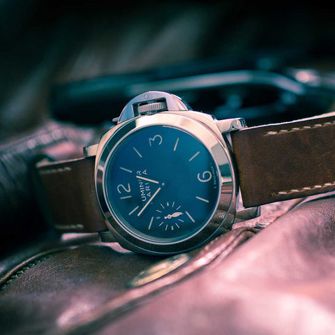 classic leather watch with blue dial