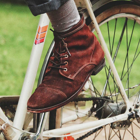 casual chukka boot close up on bike