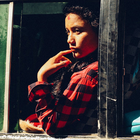 woman in classic red flannel