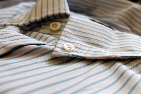 white-and-blue-striped-button-up-shirt
