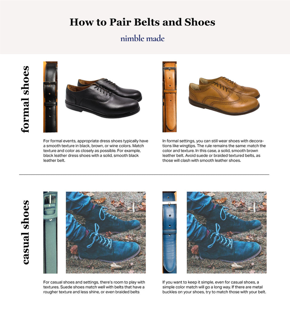 mens dress shoes matching with belts infographic