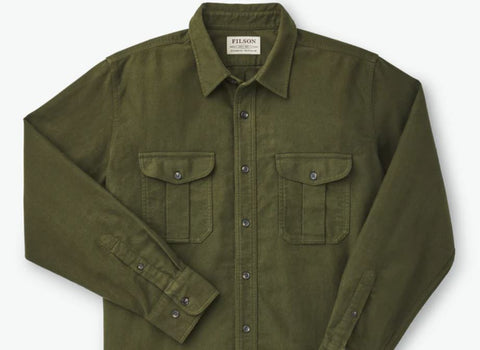 filson flannel shirt in olive