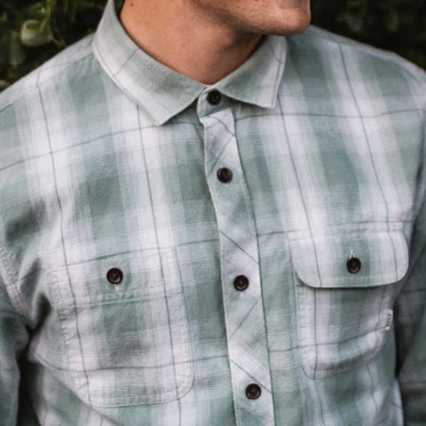 close up light green flannel with double pockets