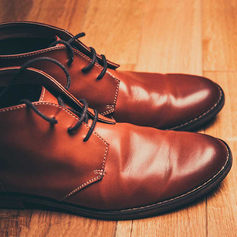 dress shoe leather closeup