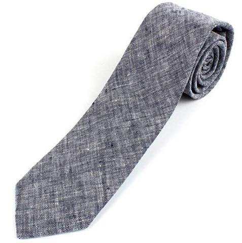 gray and white tie, slightly rolled up