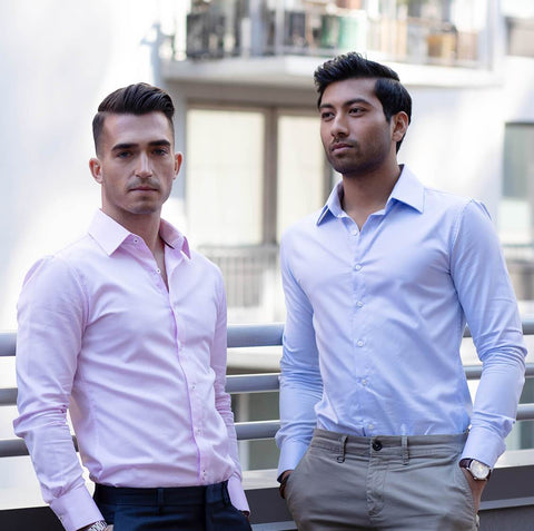 confident men wearing fitted dress shirts