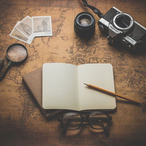 journal and camera gear