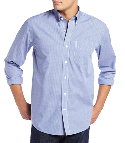 blue gingham shirt worn by man