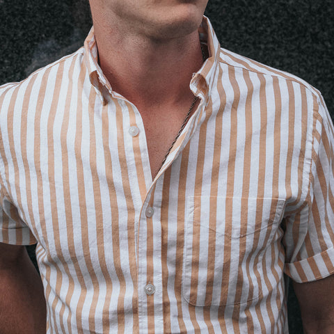 white shirt with brown stripes single pocket