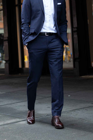 mens suit pants half break