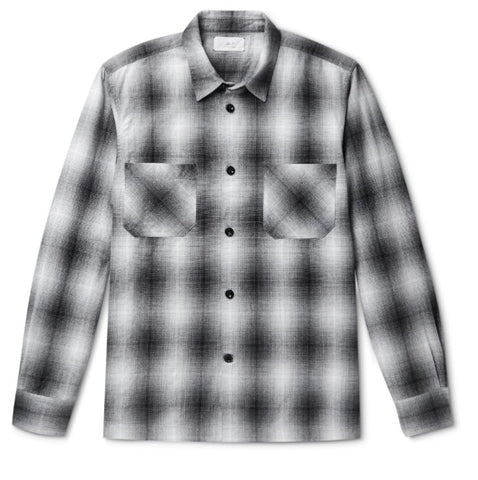 mr p black and white flannel shirt