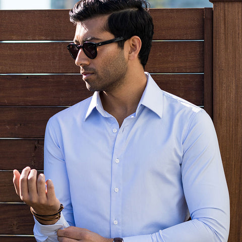 light blue dress shirt herringbone texture smooth