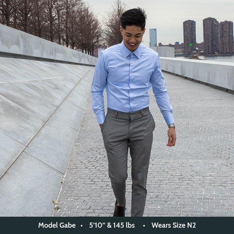 waterbend dress shirt with street view in back