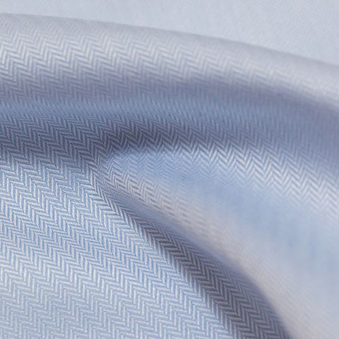 shiny light blue herringbone weave dress shirt