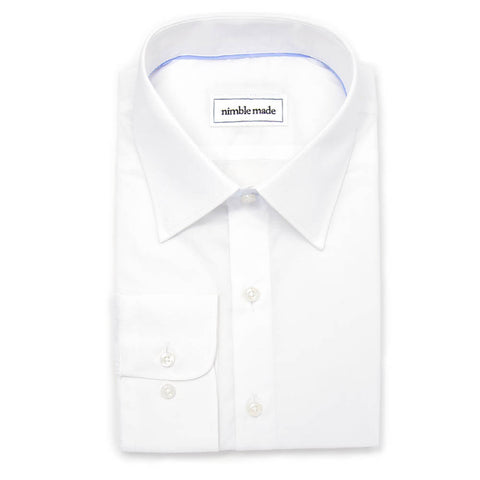 mens slim fit white dress shirt in broadcloth weave top-down view