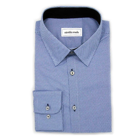 Nimble Made Men's Dark Blue Printed Dress Shirt