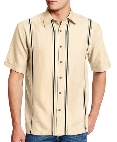 tan dress bowling shirt