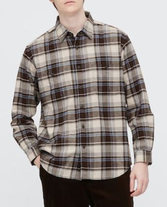 uniqlo beige flannel shirt