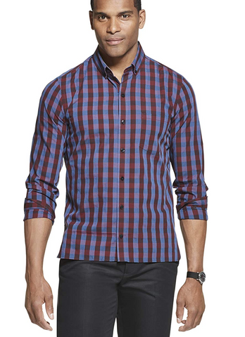 blue red black checkered dress shirt