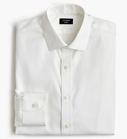 white dress shirt 2 ply from j crew, white back drop