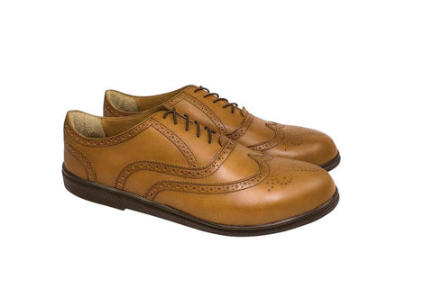 light brown wingtip oxford dress shoes