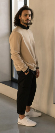 man in beige sweater