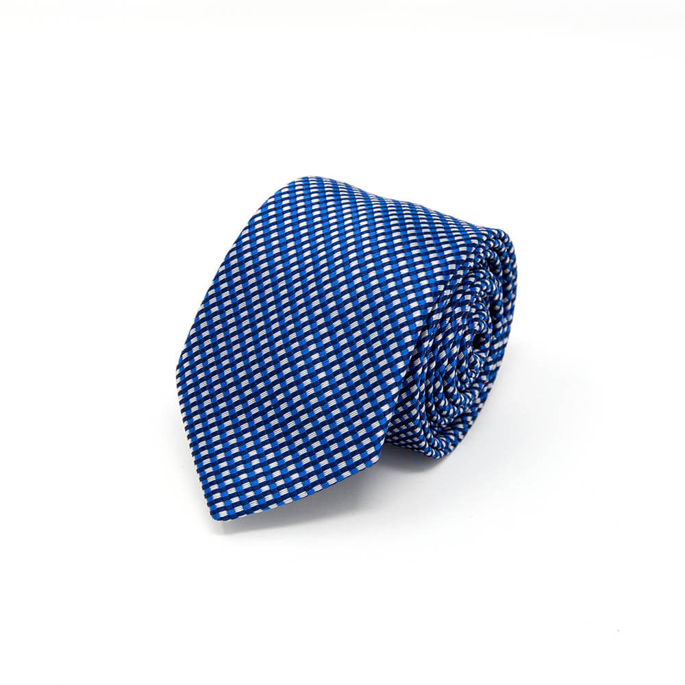 Navy Blue and White Pattern Tie