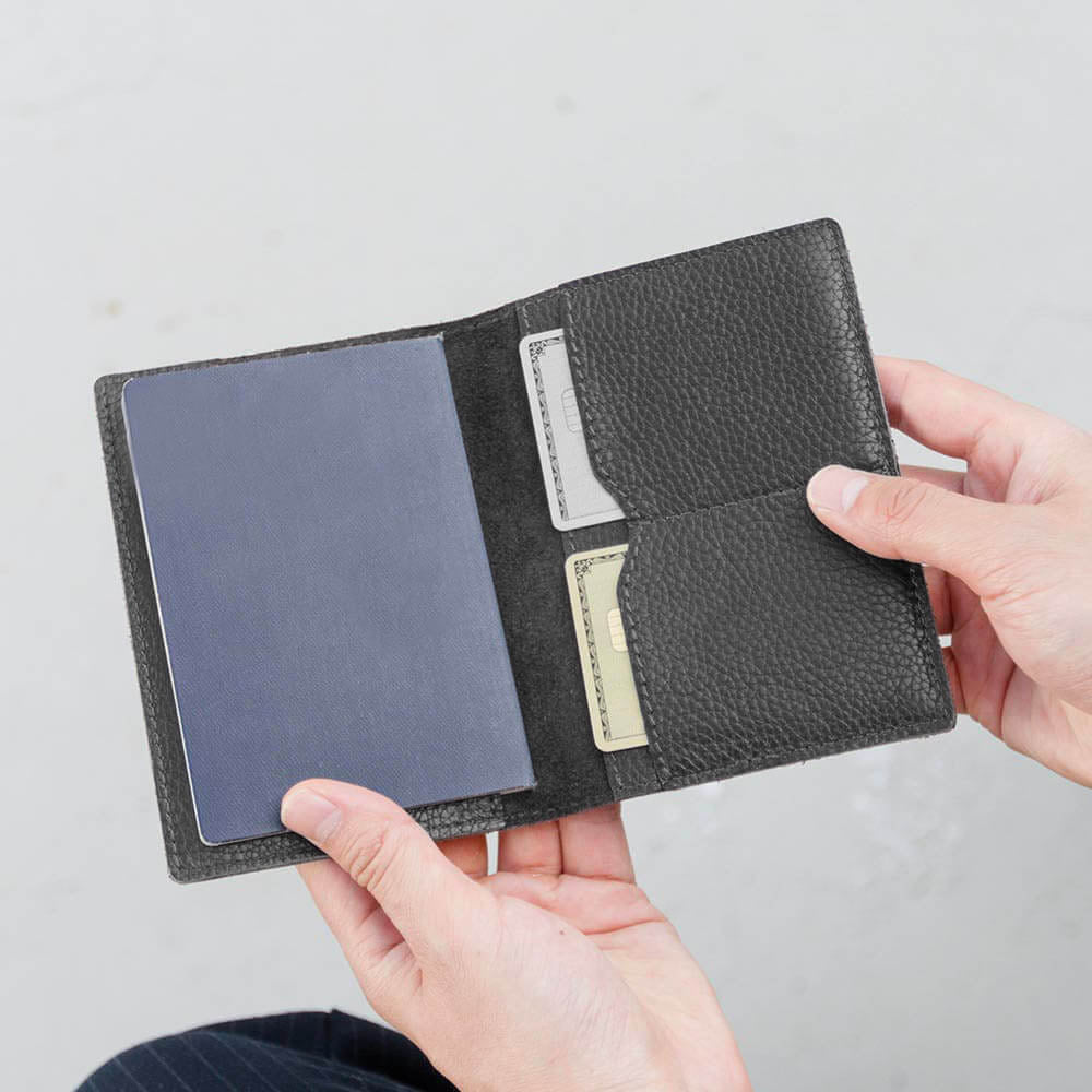 Black Leather Passport Cover