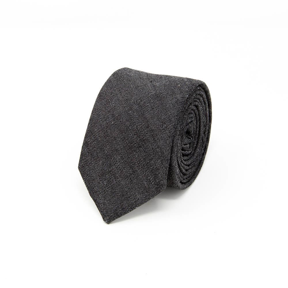Gray Denim Cotton Tie