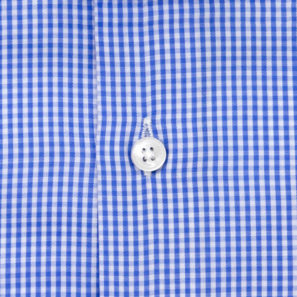 Sky Blue Checkered Cutaway Dress Shirt | The Shoji