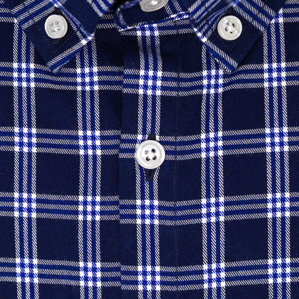 Blue and White Flannel Button Down Shirt | The Indigo
