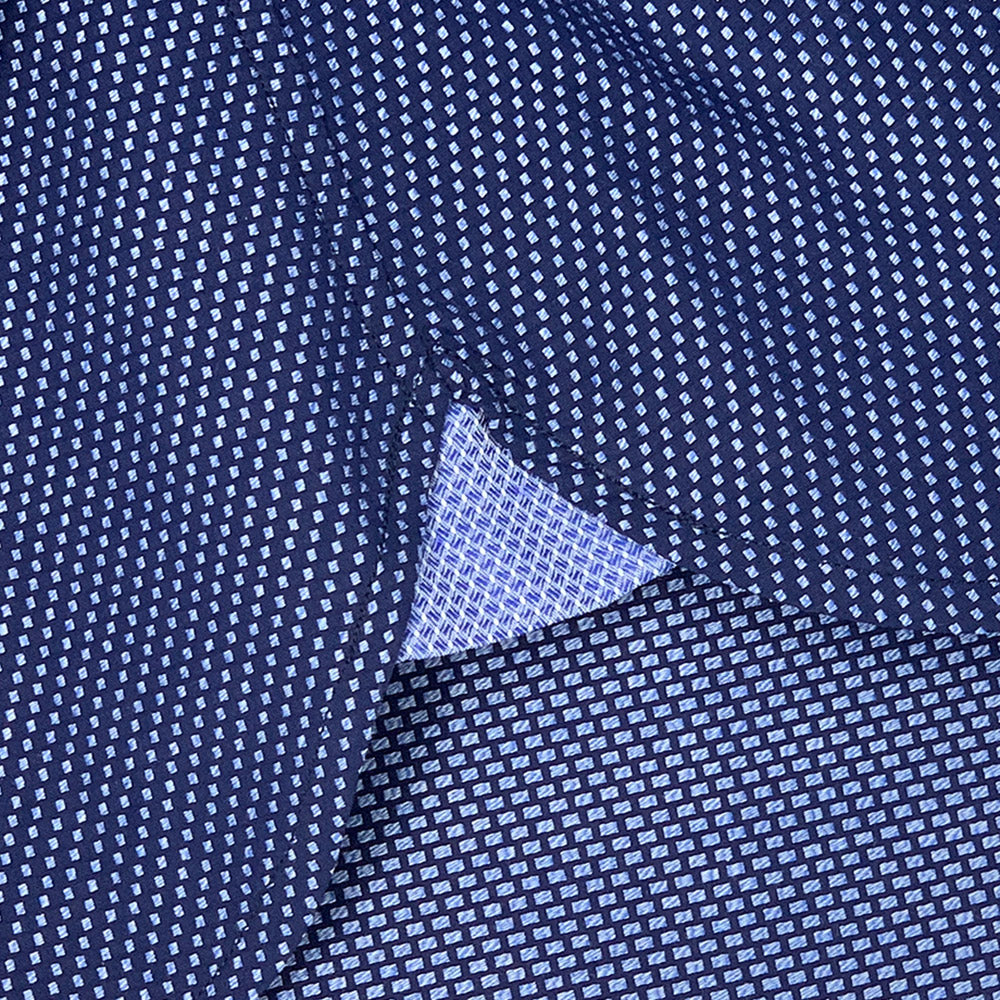 Navy Blue Textured Dress Shirt | The Goban