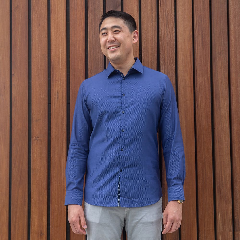 Dark Navy Blue Textured Dress Shirt | The Constellation