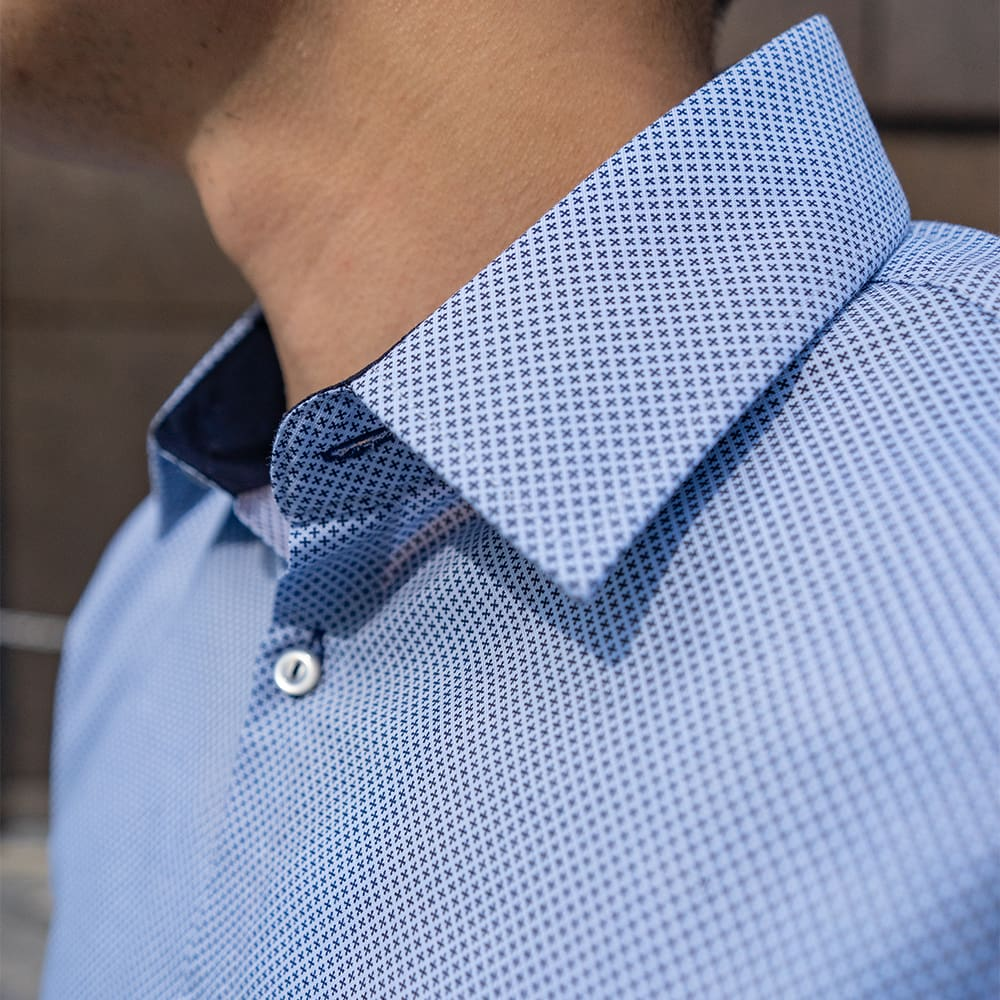 Men's Dark Blue Printed Dress Shirt - Slim Fit | The No. 10