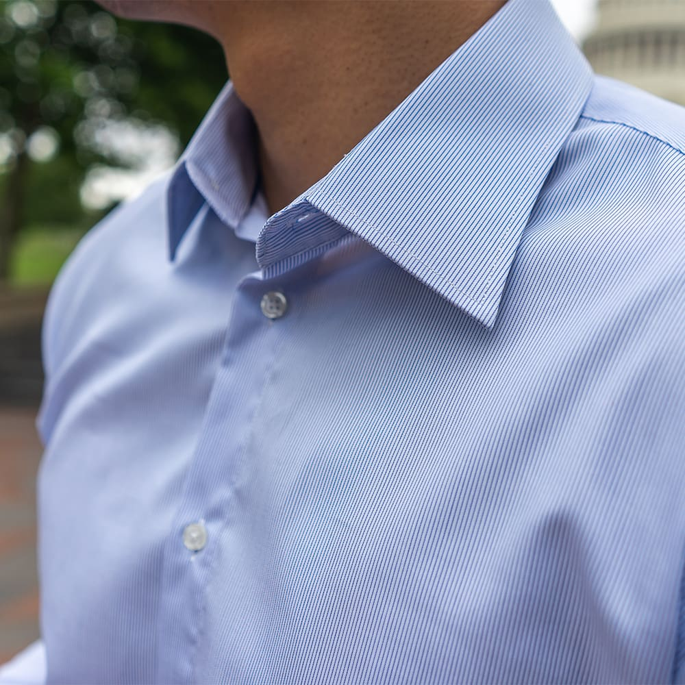 Men's Striped Blue Dress Shirt - Slim Fit | The Grand Canal