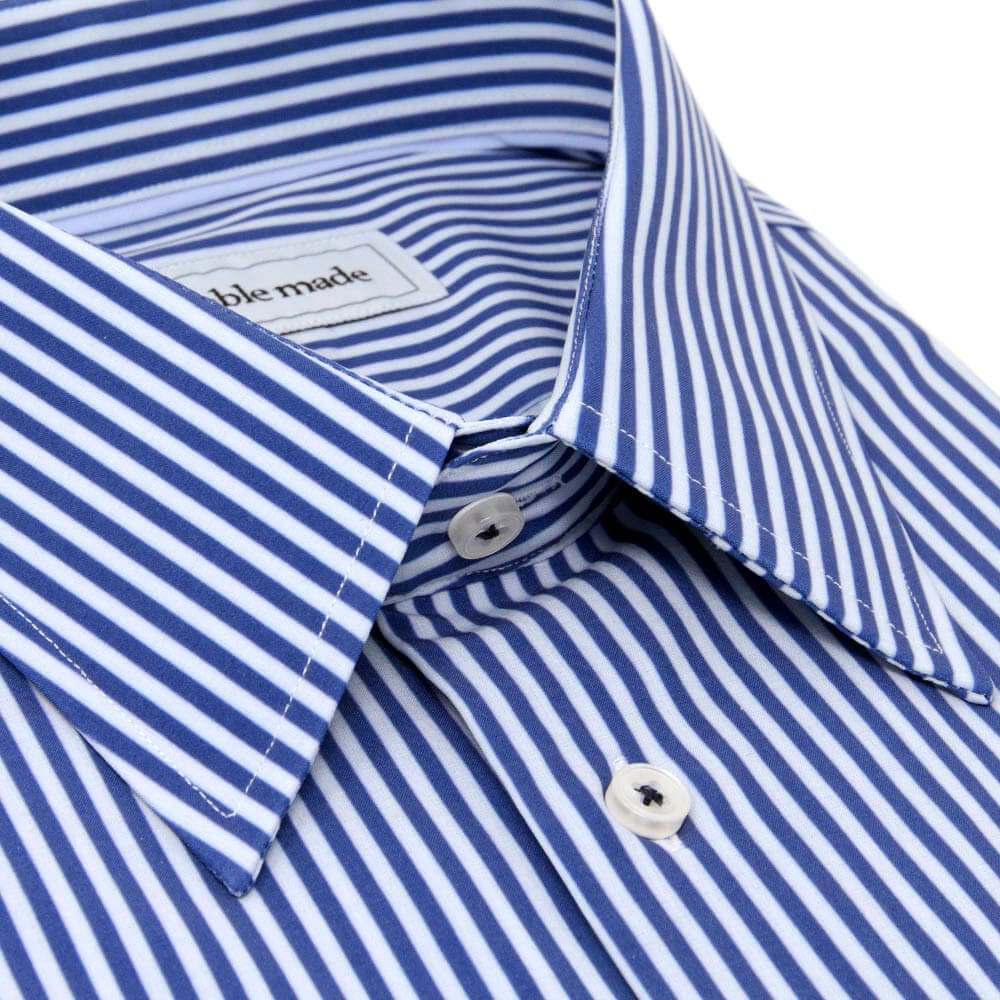 Blue & White Striped Non-Iron Dress Shirt | The Pearl River
