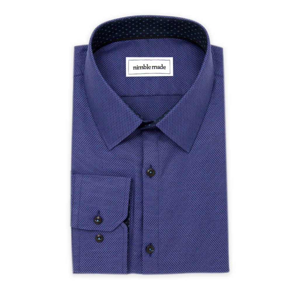 Dark Blue Textured Dress Shirt | The Azure