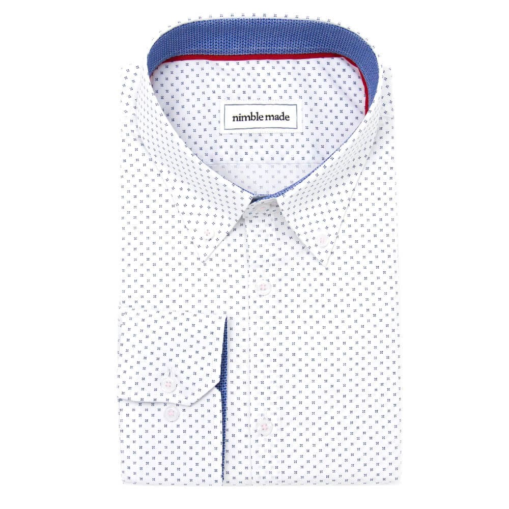 White Patterned Button-Down Dress Shirt | The Melati