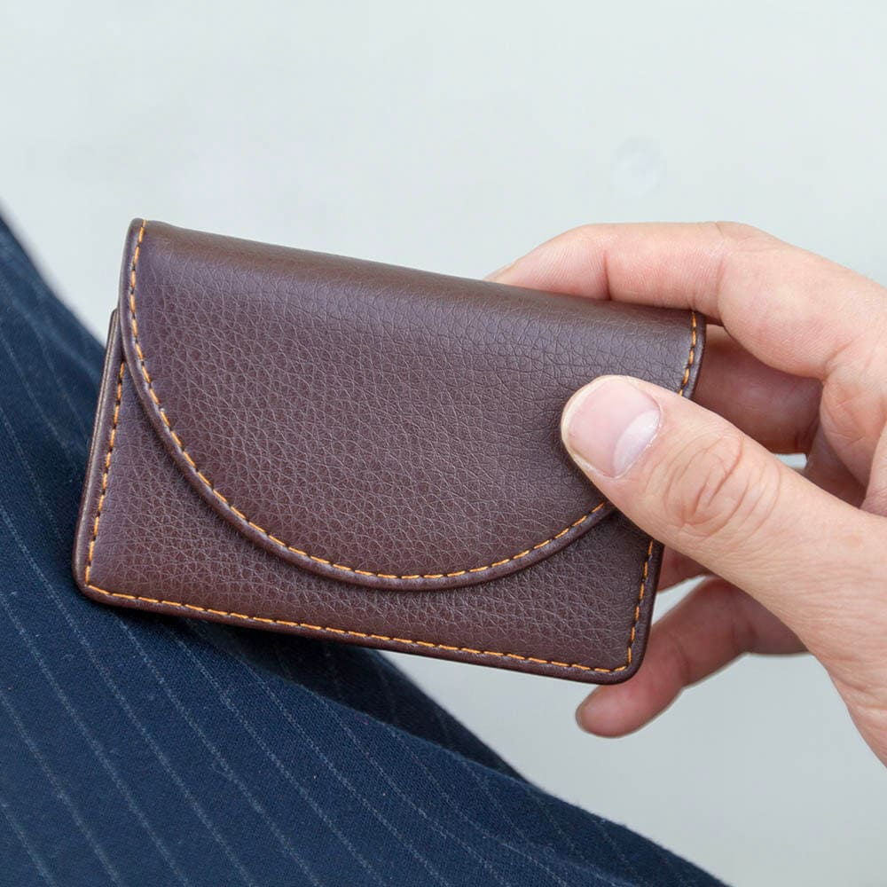 Brown Leather Card Holder Wallet